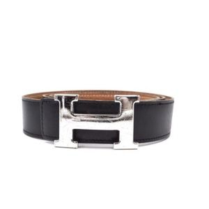 Black On Gold 32mm Silver H Reversible 100 Belt